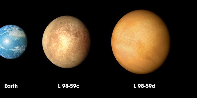 The three planets discovered in the L98-59 system by NASA's Transiting Exoplanet Survey Satellite (TESS) are compared to Mars and Earth in order of increasing size in this illustration. (Credit: NASA's Goddard Space Flight Center)