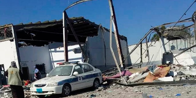 The detention center in Tripoli's Tajoura neighborhood was heavily-damaged in the airstrike Wednesday.
