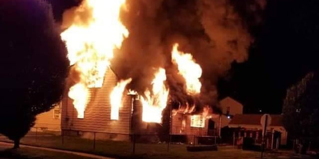 A home under renovation that caught fire in Linden, N.J., on Thursday night. Police are investigating whether or not the blaze is linked to other 'suspicious' fires in the area.