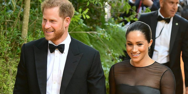 Meghan, Duchess of Sussex and Prince Harry, Duke of Sussex attend The Lion King European Premiere during Leicester Square on Jul 14, 2019 in London.