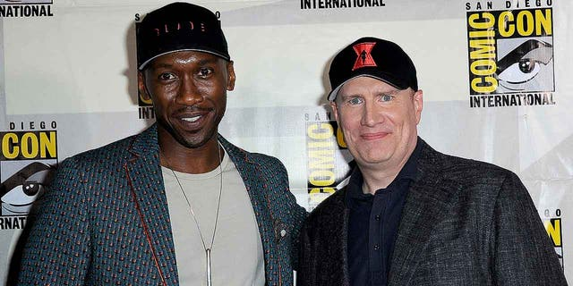 "Mahershala Ali and Marvel Studios President Kevin Feige pose for a photo at San Diego Comic-Con on July 20, 2019. Ali has been announced as the new Blade in a reboot of the vampire-hunter series. Wesley Snipes previously starred as the ""Day Walker."""