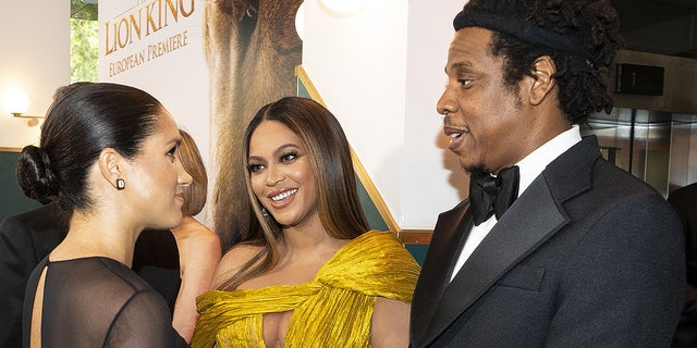 "Meghan, Duchess of Sussex meets Beyoncé and Jay-Z at the London premiere of ""The Lion King."" Queen Bey voices Nala in the live-action adaptation of the Disney classic."