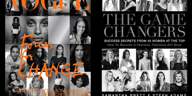 "Meghan Markle's Vogue cover, left, and ""The Game Changers"" book cover, right."