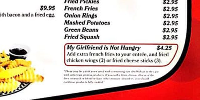 """The funny meal add-on includes """"extra French fries to your entrée, and fried chicken wings (2) or fried cheese sticks (3)."""""""