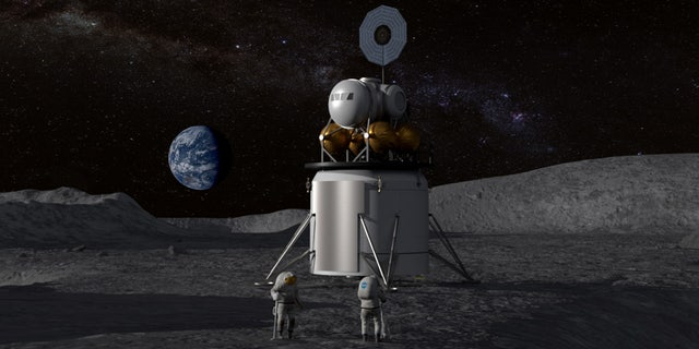 Illustration of a human landing system and crew on the lunar surface with Earth near the horizon. (Credit: NASA)