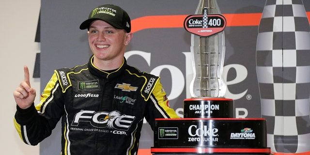 Big rain and big wreck lead to Haley's 1st career Cup win