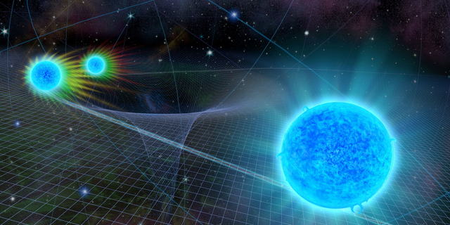 An artist's illustration of the star S0-2 as it passes by the supermassive black hole at the Milky Way's center. As the star gets closer to the supermassive black hole, it experiences a gravitational redshift that is predicted by Einstein's theory of general relativity.