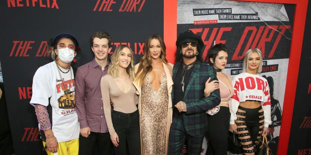 "Courtney Sixx, Nikki Sixx and family attend the premiere of Netflix's 'The Dirt"" at the Arclight Hollywood on March 18, 2019 in Hollywood, California. (Photo by Rachel Murray/Getty Images for Netflix)"