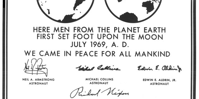 "Millions of people on Earth watched via television as a message for all mankind was delivered to the Mare Tranquilitatis (Sea of Tranquility) region of the Moon during the historic Apollo 11 mission, where it still remains today. This photograph is a reproduction of the commemorative plaque that was attached to the leg of the Lunar Module (LM), Eagle, engraved with the following words: ""Here men from the planet Earth first set foot upon the Moon July, 1969 A.D. We came in peace for all of mankind."" (Credit: NASA)"