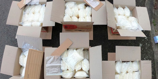 Some of the 600 pounds of meth that was found in a van after it crashed into the parked police car.