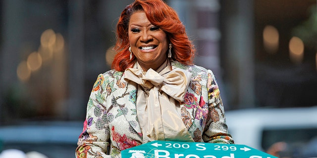 """Singer Patti LaBelle smiles after a ceremony naming a street after her, Tuesday, July 2, 2019, in Philadelphia. A stretch of Broad Street, between Locust and Spruce Streets, will be renamed """"Patti LaBelle Way."""""""