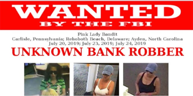 """The Federal Bureau of Investigationis on the hunt for a serial bank robber known as the """"Pink Lady Bandit"""" who is said to have robbed four banks in three states on the east coast."""