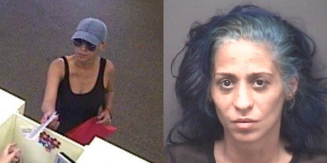 """The FBI said it arrested Circe Baez, 35, Sunday in Charlotte and charged her with being the""""Pink Lady Bandit"""" bank robber."""
