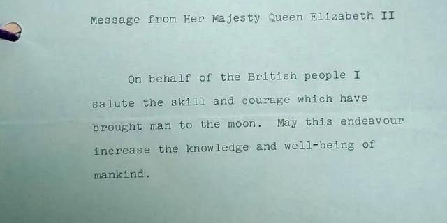 Queen Elizabeth's message to the Moon, as seen at the British National Archives.