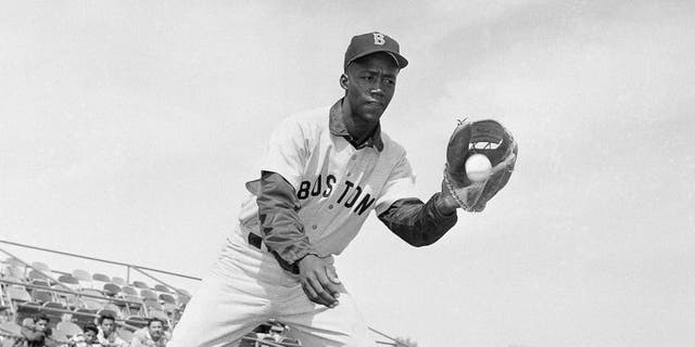 Elijah Pumpsie Green poses for a photo, plcae not known. Green, a initial black actor on a Red Sox, has died. He was 85. (AP Photo/Harold Filan, File)