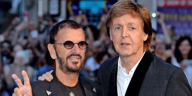 """LONDON--Ringo Starr and Paul McCartney attend the World premiere of """"The Beatles: Eight Days A Week - The Touring Years"""" at Odeon Leicester Square on Sept. 15, 2016 in London, England. (Photo by Anthony Harvey/Getty Images)"""