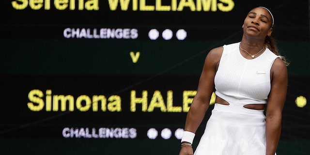 United States' Serena Williams reacts after losing a indicate to Romania's Simona Halep during a women's singles final compare on day twelve of a Wimbledon Tennis Championships in London, Saturday, Jul 13, 2019. (AP Photo/Tim Ireland)
