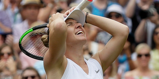 Romania's Simona Halep celebrates after defeating United States' Serena Williams during a women's singles final compare on day twelve of a Wimbledon Tennis Championships in London, Saturday, Jul 13, 2019. (AP Photo/Kirsty Wigglesworth)
