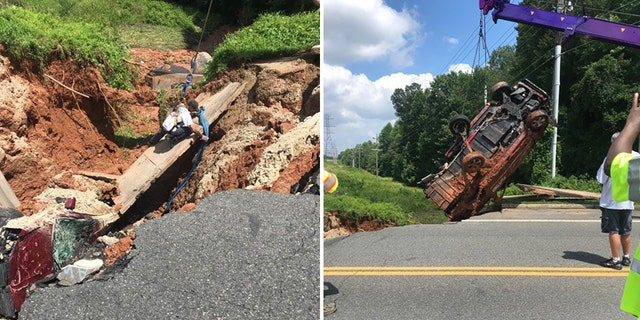 Westlake Legal Group sinkhole-VA Giant sinkhole in Virginia swallows, mangles parked car, video shows Stephen Sorace fox-news/us/us-regions/southeast/virginia fox-news/us/disasters fox news fnc/us fnc article a87b68f9-5464-5d51-a407-f071e469ef32