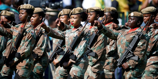 Soldiers parade at the inauguration of Cyril Ramaphosa as South African president at Loftus Versfeld stadium in Pretoria, South Africa May 25, 2019.