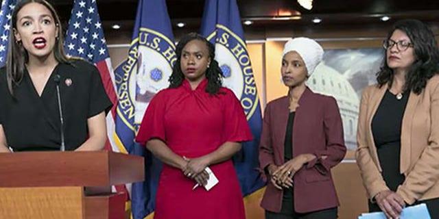 'The Squad' members: From left to right, Rep. Alexandria Ocasio-Cortez, D-N.Y., Rep. Ayanna Pressley, D-Mass., Rep. Ilhan Omar, D-Minn., Rep. Rashida Tlaib, D-Mich.