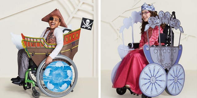 Customers can further embrace the spooky spirit with coordinating covers that transform the wheelchair into a pirate ship or royal carriage.