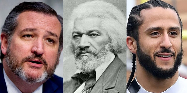 Both U.S. Pat. Ted Cruz, R-Texas, and former NFL quarterback Colin Kaepernick, right, tweeted passages from an 1852 speech by abolitionist Frederick Douglass on Thursday.