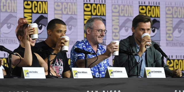 """Maisie Williams, from left, Jacob Anderson, Liam Cunningham and Nikolaj Coster-Waldau appear at the """"Game of Thrones"""" panel on day two of Comic-Con"""