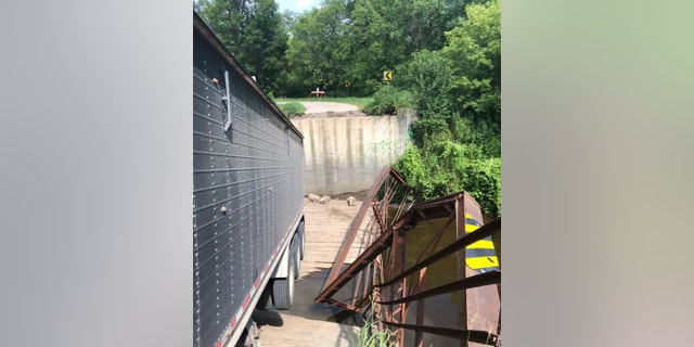 The weight-restricted bridge over the Goose River near Northwood collapsed at around 1:15 p.m.