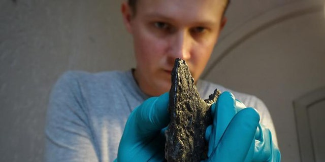 Dr. Leszek Gardeła examining the axe found in a woman's grave in western Norway. (Credit: Mira Fricke)