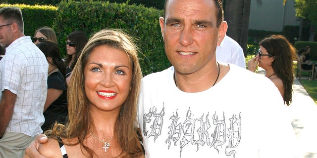 """Actor Vinnie Jones and wife Tanya Jones arrive at the """"Stardust"""" Los Angeles premiere at Paramount Studio Theatre on July 29, 2007."""