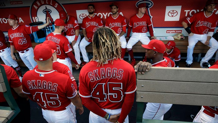 Angels players wear number 45 in tribute to Tyler Skaggs