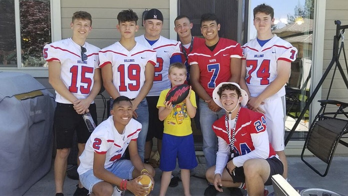 Idaho high school football team attends autistic boy's birthday party after only one classmate accepts invi...