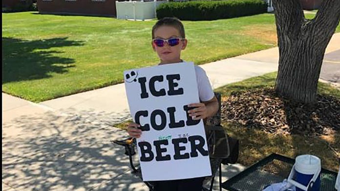 Utah boy selling 'ice cold beer' appears to be a savvy marketer