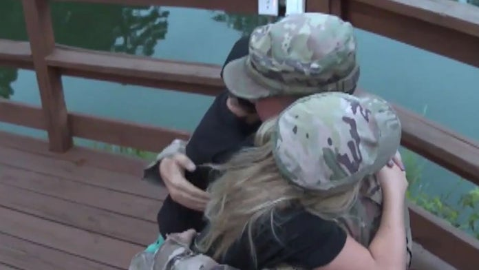 Military dad surprises his kids at summer camp bonfire