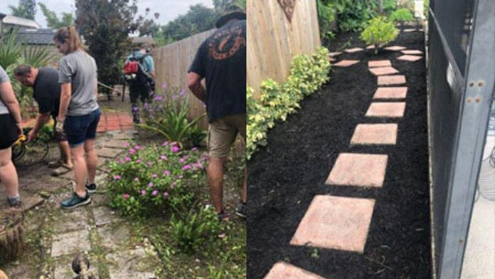 Police officers do yardwork for cancer-stricken woman, turn her yard into 'virtual oasis'
