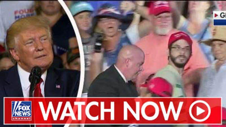 Protester interrupts Trump's rally in Greenville, North Carolina