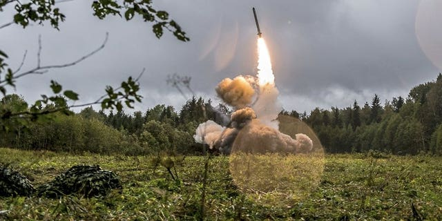 This undated file photo provided Tuesday, Sept. 19, 2017, by Russian Defense Ministry official web site shows a Russian Iskander-K missile launched during a military exercise at a training ground at the Luzhsky Range, near St. Petersburg, Russia. (Associated Press)