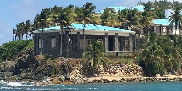 A close-up view of Jeffrey Epstein's stone and turquoise home on Little St. James, one of two islands the disgraced financier bought in the US Virgin Islands. (Barnini Chakraborty/Fox News)