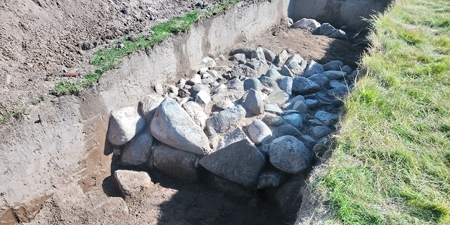 The wall of the Iron Age roundhouse at Dinas Dinlle. (CHERISH Project)