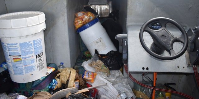 "The cabin of a ""low-profile go-fast"" vessel interdicted by crew members from the pre-commissioned Coast Guard Cutter Midgett on July 31 in international waters of the Eastern Pacific Ocean. (U.S. Coast Guard)"