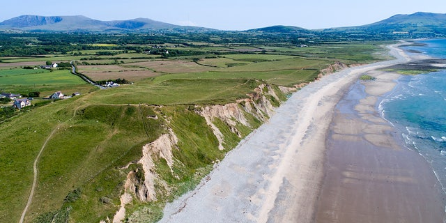 An aerial image of Dinas Dinlle captured by drone.