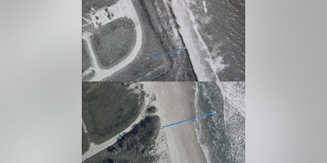 Models project that the ocean near Cape Canaveral's coastline will rise between five to eight inches by the 2050s. The top photo shows the distance between a launch site and the coastline during the 1960's. The bottom photo shows the current proximity of the coastline to the same historic launch site.