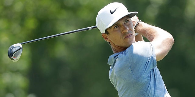 Thorbjorn Olesen, of Denmark, hits off the second tee during the first round of the World Golf Championships-FedEx St. Jude Invitational Thursday, July 25, 2019, in Memphis, Tenn. (AP Photo/Mark Humphrey)