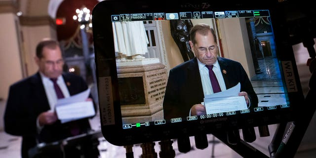 House Judiciary Committee Chairman Jerrold Nadler, D-N.Y., prepares for a tv news interview at the Capitol in Washington, Friday, July 26, 2019. Nadler says his panel also will go to court next week to try to enforce a subpoena against former White House counsel Donald McGahn, a key Mueller witness. (AP Photo/J. Scott Applewhite)