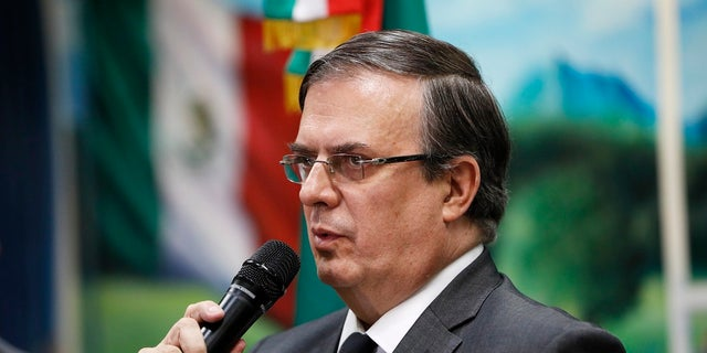 Mexican Foreign Minister Marcelo Ebrard speaks during a news conference Monday, Aug. 5, 2019, on the mass shooting at a shopping complex in El Paso, Texas. (AP Photo/John Locher)
