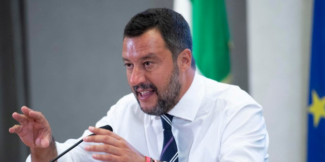 Italian deputy Premier and Interior Minister Matteo Salvini talks to journalists after meeitng with Entrepreneurs and Labor Unions representatives at the Viminale, the Interior Ministry building, in Rome, Tuesday, Aug. 6, 2019.