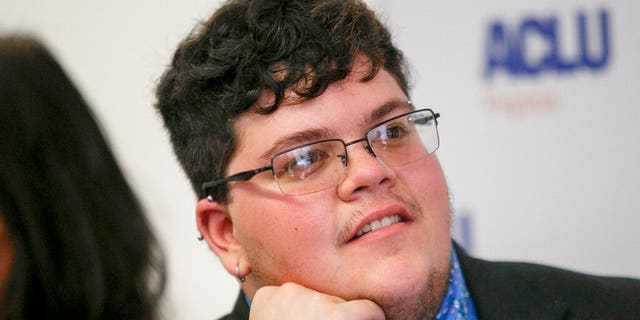 In this July photo, Gavin Grimm, who has become a national face for transgender students, speaks during a news conference held by the ACLU and the ACLU of Virginia at Slover Library in Norfolk, Va. (Associated Press)