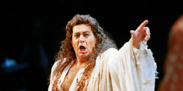 "In this Nov. 5, 1994 file photo, Placido Domingo performs in the San Francisco Opera's production of ""Herodiade"" in San Francisco. On Tuesday, Aug. 13, 2019, the San Francisco Opera said it is canceling an October concert featuring Domingo after the publication of an Associated Press story that quoted numerous women as saying they were sexually harassed or subjected to inappropriate behavior by the superstar."