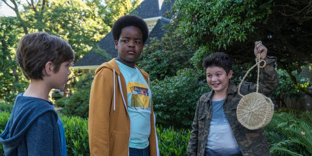 "This image released by Universal Pictures shows Jacob Tremblay, from left, as Max, Keith L. Williams as Lucas and Brady Noon as Thor in the film, ""Good Boys,"" written by Lee Eisenberg and Gene Stupnitsky and directed by Stupnitsky."